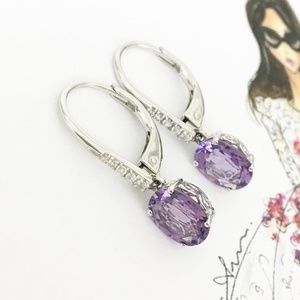 Amethyst CZ Dangle Sterling Earrings